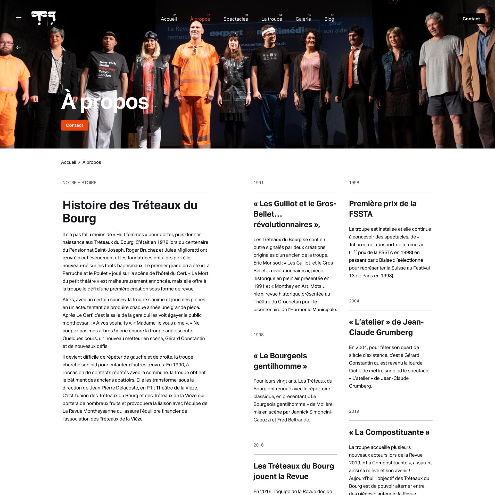 website_treteauxdubourg, página sobre nós