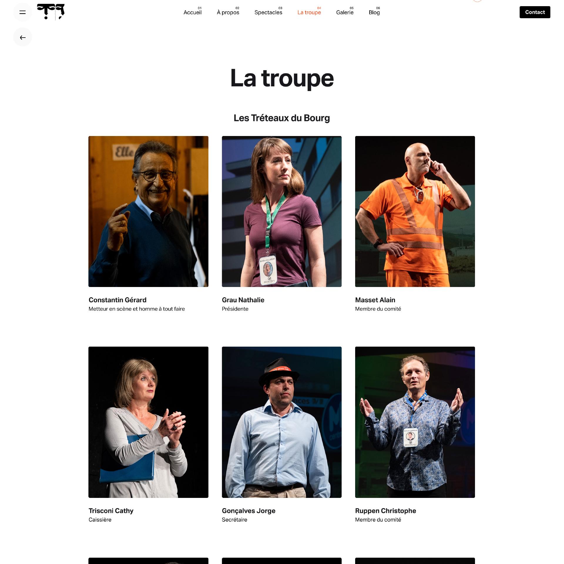 Website - Treteaux du bourg, fotos dos atores e comediantes